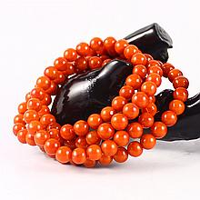Beautiful Color Hand Carved Chinese Natural Nan Hong Agate Baed Necklace