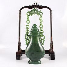 Superb Hand Carved Chinese Natural Green Hetian Jade Bottle w Hetian Jade Chains
