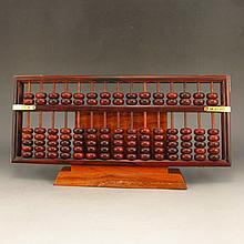 Hand Carved Chinese Natural Hua Li Wood Abacus