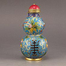 Chinese Red Copper Cloisonne Snuff Bottle