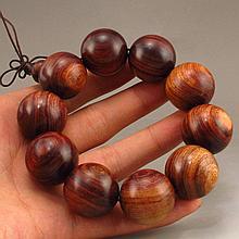 Beautiful Hand Carved Chinese Natural Hua Li Wood Buddhist Prayer Beads Bracelet