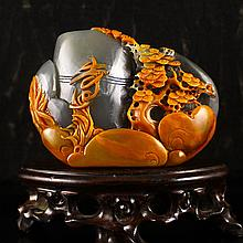 Superb Hand-carved Chinese Natural Jade Pine Tree Brush Pot w Certificate
