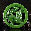 Hand-carved Chinese Natural Green Hetian Jade Pendant - Monkey & Horse