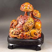 Hand Carved Chinese Natural Shoushan Stone Statue - Ruyi Dragon & Ball