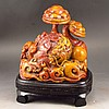 Hand Carved Chinese Natural Shoushan Stone Statue - Ruyi Dragon & Ball