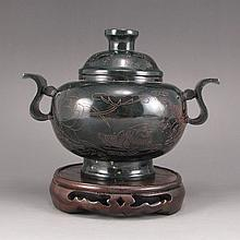 Vintage Chinese Qing Dynasty Deep Green Hetian Jade Double Ring Incense Burner Intaglio Mandarin Ducks & Lotus w Mark