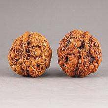 A Pair Chinese Hand Carved Natural Art Walnuts w Fortune Kid