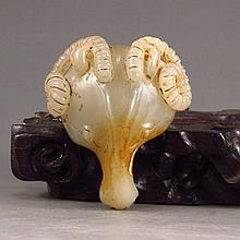 19 Th C Vintage Chinese Hetian Jade Pendant - Sheep Haed