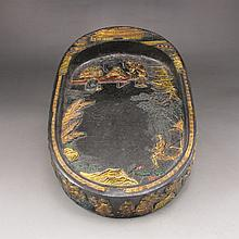 Vintage Chinese Black Block for Ink Stone w Sages Meeting