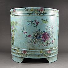 Fine Chinese Colour Enamels Yixing Zisha / Purple Clay Brush Pot w Magpies Peonys & Artist Signature