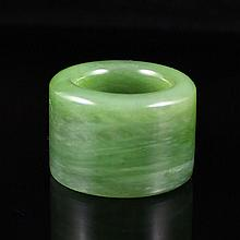 Hand Carved Chinese Natural Green Hetian Jade Fingerstall / Ring