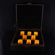 A Set Eight Piece Hand Carved Chinese Shoushan Stone Seal