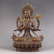 Chinese Brass Carved Buddha Statue