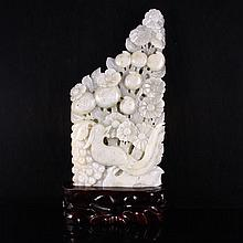Hand Carved Chinese Natural Hetian Jade Statue - Flowers & Bird