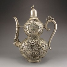 Handmade Chinese White Copper Teapot w Dragon