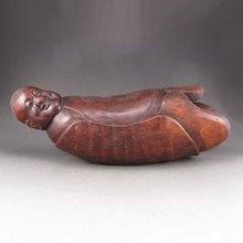Chinese Hand-carved Bamboo Pillow Statue - Fortune Kid
