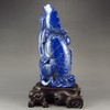 Hand-carved Chinese Natural Lapis Lazuli Statue - Fish & Lotus Flower