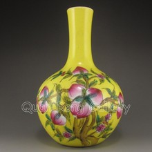 Chinese Yellow Ground Famille Rose Porcelain Vase w Yong Zheng Mark & Peachs