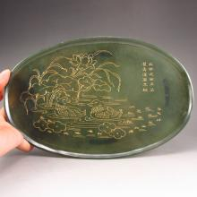 Superb Hand Carved Chinese Natural Deep Green Hetian Jade Plate w Mandarin Duck & Lotus Flower
