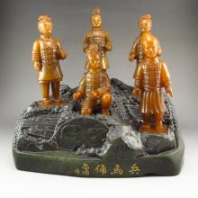 A Set Superb Hand Carved Chinese Natural Shoushan Stone Statue - Terracotta Warriors