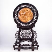 Hand Carved Chinese Rosewood Inlay Ebony Tble Screen Statue