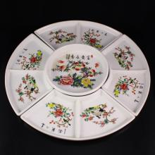 A Set Hand-painted Chinese Famille Rose Porcelain Palette w Mark