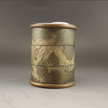 Hand-carved Chinese Bronze Inlay Jade Tea Canister w Dragon