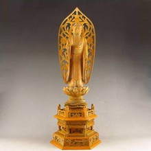 A Set Hand-carved Chinese Boxwood Wood Statue - Buddha