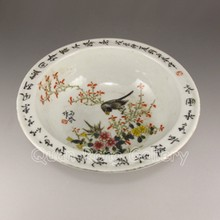 Hand-painted Chinese Su Five Colors Porcelain Bowl w Mark