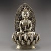 19TH C Vintage Chinese White Copper Carved Buddha Statue