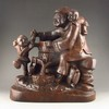 Hand-carved Chinese Sanders Wood Statue - Fortune Kids & Old Woman