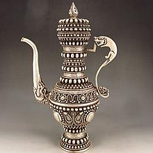 Chinese Tibet White Copper Wine Pot