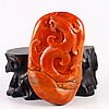 Superb Color Hand Carved Chinese Natural Nan Hong Agate Pendant w Chi Dragon