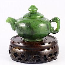 Beautiful Hand Carved Chinese Natural Green Hetian Jade Teapot Statue