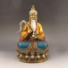 Chinese Zhuo Color White Copper Taoism Deity Grandmaster