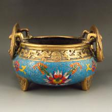 Chinese Bronze Cloisonne Incense Burner w QianLong Mark