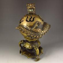 Chinese Bronze 3 Legs Incense Burner Carved Fortune Dragon w Qianlong Mark