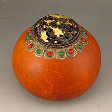 Vintage Chinese Natural Gourd Cricket Container w Genuine Dai Mao Lid Inlay Gem