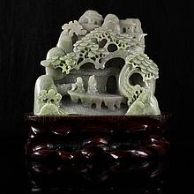Hand Carved Chinese Natural Hetian Jade Statue w Man & Pine Tree
