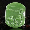 Hand Carved Chinese Natural Green Hetian Jade Pendant w Sheep & Pine Tree