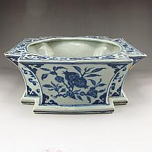 Chinese Ming Dy Blue And White Porcelain Washbowl w Xuan De Mark