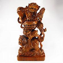 Hand Carved Chinese Qing Dynasty Natural Boxwood Hard Wood Statue - Lions & Ball