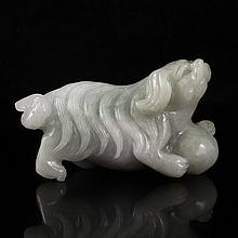 Vivid Hand Carved Natural Jadeite / Jade Lovely Dog & Ball Statue