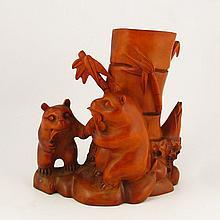 Hand Carved Chinese Natural Boxwood Hard Wood Brush Pot w Bamboo & Panda