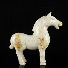 Hand Carved Chinese Natural Jade Statue - Horse