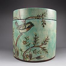 Hand-painted Chinese Su Color Porcelain Tea Caddy w Magpie & Flowers