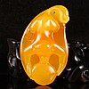 Beautiful Color Hand Carved Indonesia Natural Jin Tian Huang Pendant w Monkey