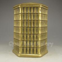 Chinese Brass Carved Bamboo Shaped Tea Caddy
