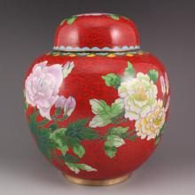 Chinese Brass Cloisonne Tea Caddy w Peony