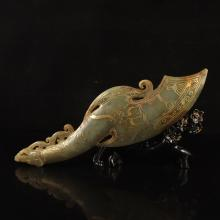 Chinese Han Dynasty Gold-plating Dragon Head Axe Statue